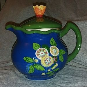 April Cornell Hand Painted Blue & Green Teapot